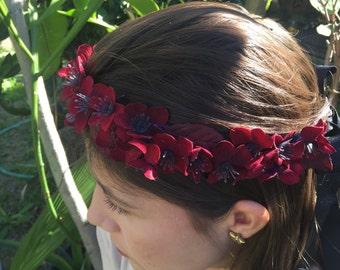 Red velvet flower crown