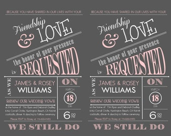 Chalkboard Vow Renewal Invitation