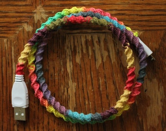 READY TO SHIP! handwrapped rainbow android/micro usb charger