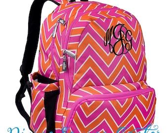 Monogram Backpack. Hot Pink Chevron. Orange Chevron. Personalized Girls backpack. Backpack. Back to school sale. Zigzag Backpack. Bookbag