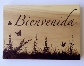 Bienvenida wood sign, welcome sign, wood burned sign, wildflower silhouette, spanish sign