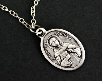 Saint Thomas Aquinas Necklace. Catholic Saint Necklace. St Thomas Aquinas Medal Necklace. Patron Saint Charm Necklace. Catholic Jewelry.