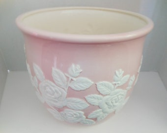 Vintage Pink & White Planter/Vase/ Lord and Taylor