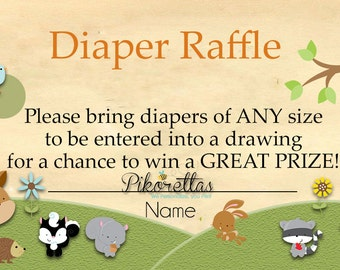 Forest Baby Shower Diaper Raffle Tickets, Forest Friend Baby Shower Diaper Raffle Insert Card, Instant Download PDF Printable