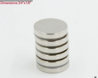 "6-Ct (Free Shipping) 3/4""x 1/8"" Highest Quality Rare Earth Neodymium N45 NdFeB Super Strong Disc Magnets - True N45"