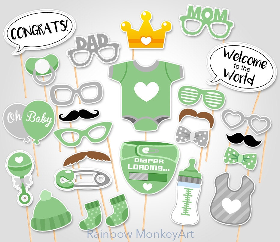 Unisex baby shower photo booth props printable photobooth - Photo baby shower ...