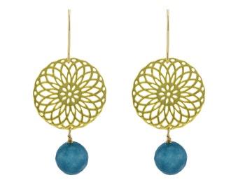 Brass rosette earrings