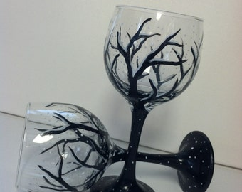 Beautiful hand painted wine glasses- set of two