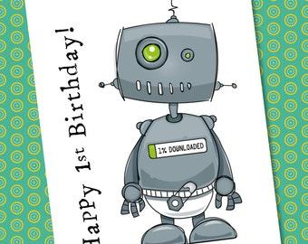 Robot Birthday Card - Customisable (1st Birthday, 18th, 16th, 40th etc)