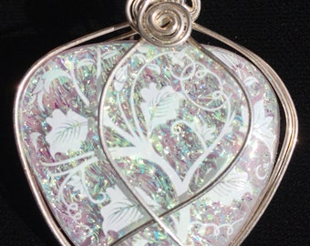 Sterling Silver Wire Wrapped Lilac Glass Fused/Kilnformed Pendant with Dichroic & Decal
