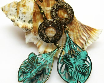 Butterfly Earrings - Blue Patina Butterfly Earrings - Vintaj Brass Earrings - Metal Earrings - Long Dangle Earrings - Boho Jewelry - Gift