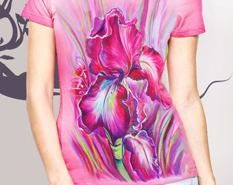 T-shirt. Irises. Pink.Flovers.Hand-made.Gift.Painting.Summer.