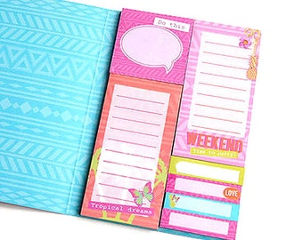 Sticky notes book with palms and pineapples, sticky notes, stickynotes, page flags, page markers, planner flags, planner supplies, tropical