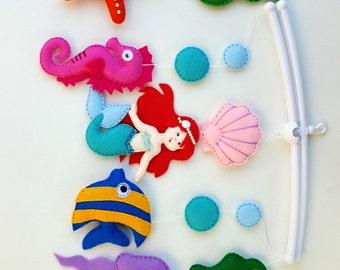 Little mermaid baby crib mobile,Under the sea crib mobile,Ocean nursery decor, Mermaid mobile,Fish mobile,Seahorse mobile,Baby girl mobile