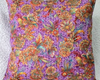 SALE, Persian Flowers Cushion Cover, Purple Cushion Cover, Leaves Cushion Cover, Living Room, Conservatory, Housewarming Gift, Gifts for Her