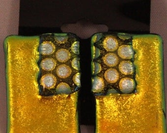 Retro Gold - fused glass earrings