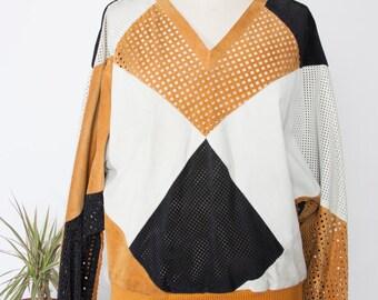 Echtes Leder Pull-over Sweater