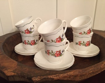 Vintage Arcopal France White Teacup and Saucer Set of 6 with Provincial Flower Design