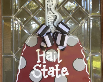 MSU Bulldogs cowbell door hanger Mississippi State University football