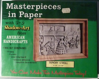 """Art Kit - American Handicrafts - Masterpieces in Paper with 3-D Shadow Art - """"Sunday Stroll"""""""