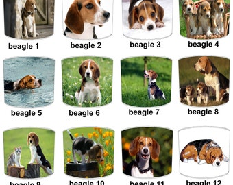 Beagle Puppy Dog Lamp shades, To Fit Either a Table Lamp base or a Ceiling Light Fitting.