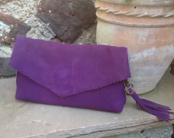 Purple Suede Leather Clutch Bag