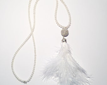 White pearl, tassel necklace with CZ and feather