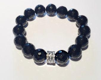 0,66 carat diamond and natural black onyx bracelet