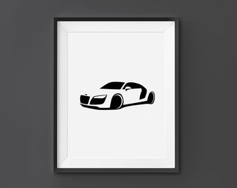 Audi R8, Audi Wall Art, Audi Print, Audi, R8, Home Decor, Digital Download, Black and White, Scandinavian Art, Car Wall Art