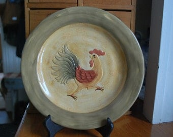 Farmhouse cottage chic shabby chic rooster decorative plate