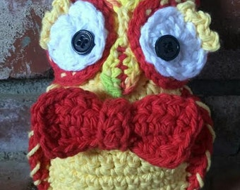 Red and Yellow Bow Tie Crochet Owl