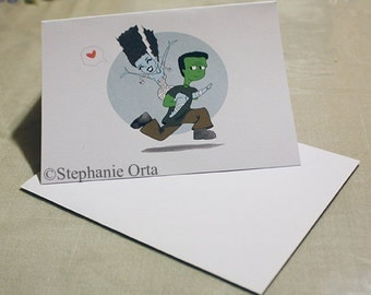 Monsters Piggy Back Ride Greeting Card