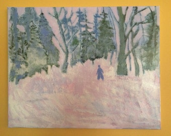 Figure in Winter Landscape With Trees