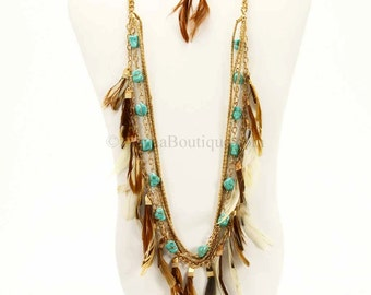 Gold Brown Turquoise Feather Necklace Set