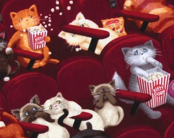 Timeless Treasures Movie Theater Cats Fabric Cat Cotton Fabric Kitty Fabric Cat Cotton Fabric by the yard Novelty Cat Fabric