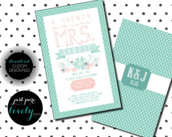 Printable Bridal Shower Invitation | Mint Green & Pink | Dots | Flowers