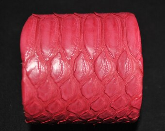 Python Cuff Bracelet Exotic Snakeskin 100% Genuine 2 inch width leather lining dust bag included- Color-Hot Pink