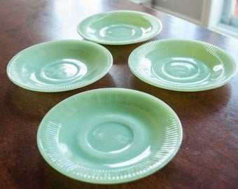 4 Fire King JADEITE Saucers. Excellent Condition. JANE RAY Pattern
