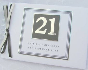 PERSONALISED - ANY AGE - Milestone Birthday 18th-21st-30th-40th-50th-60th etc ...  Guest Book / Scrapbook Memory Album -