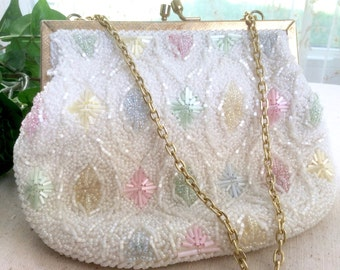 Vintage Magid Handmade and Beaded Evening Bag in Pale Pink, Yellow, Blue, and Green--On Sale through June 27