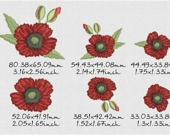 Flower poppy design machine embroidery, flowers 6, instant download