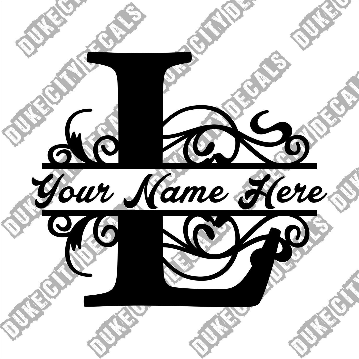 Letter L Floral Initial Monogram Family Name Vinyl Decal