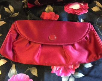 Vintage NY & CO Strawberry Red Clutch, New York Company Red Fabric Purse