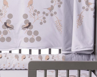 Bloom Sparrow Beginning Bassinet / Organic cotton blanket , Birds baby blanket, Cradle and Stroller Newborn Blanket