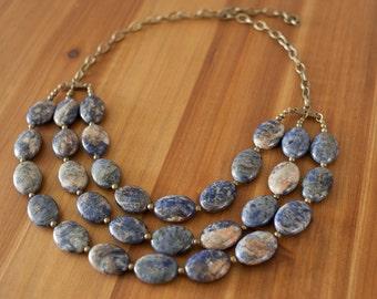 Blue Dumortierite Stone Bib Necklace, Chunky Blue Statement Necklace, Blue Multi Strand Necklace, Blue Gemstone Necklace, Navy Blue Necklace