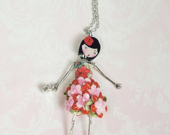 French doll pendant, doll necklace, Pink and red flowers dress, little girl pendant, Girl teen gift, metal necklace,