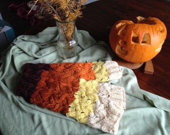 wool chunky legwarmers pumpkin