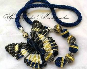 Beaded Jewelry,beaded necklace.choker crochet.necklace butterfly.beaded blue butterfly.butterfly bead.beading butterfly.gift butterfly.
