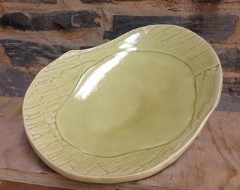 Handmade Green Textured Ceramic Plate