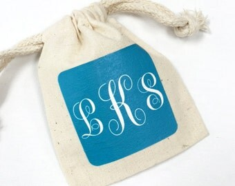 12 pcs Script Personalized Muslin Favor Bags